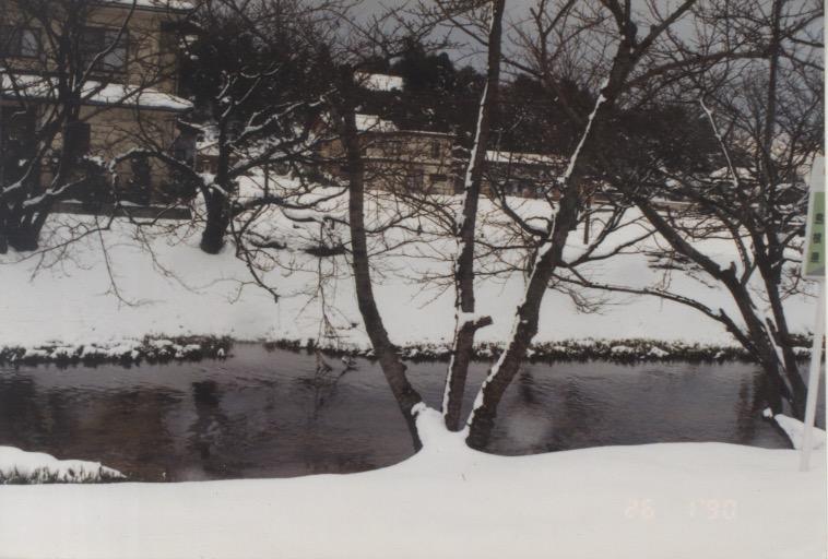 Snapshot of a snowy riverbank (26 Jan 1990)